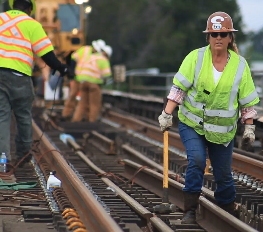 Track welder Shelley Culloty works on a track replacement project near San Leandro