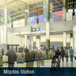 Conceptual drawing of the interior of the Milpitas BART station.
