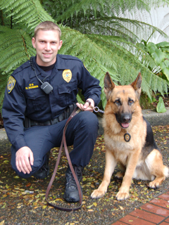 Officer Horner and K-9 Sandro.