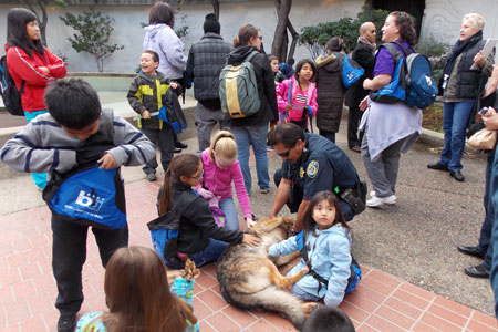 Children on a field trip who received a K-9 demonstration from BART PD.