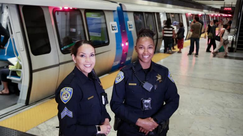BART Police officers at Civic Center Station