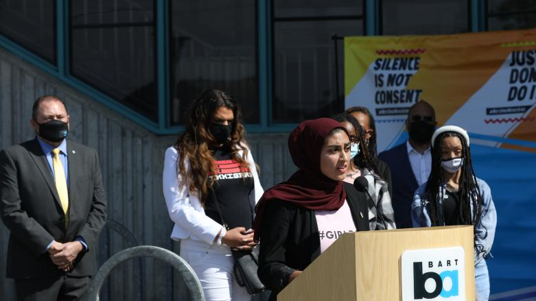 Haleema Bharoocha speaks at Not One More Girl's announcement press conference at West Oakland Station on April 2, 2021
