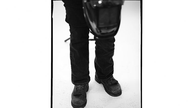 Workboots of BART track welder Shelley Culloty