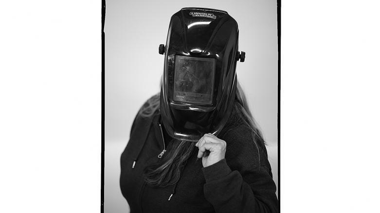 BART track welder Shelley Culloty in welding hood