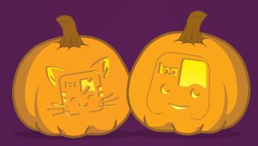 Halloween pumpkins with BART carvings