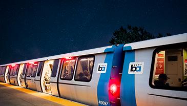 A BART train at night
